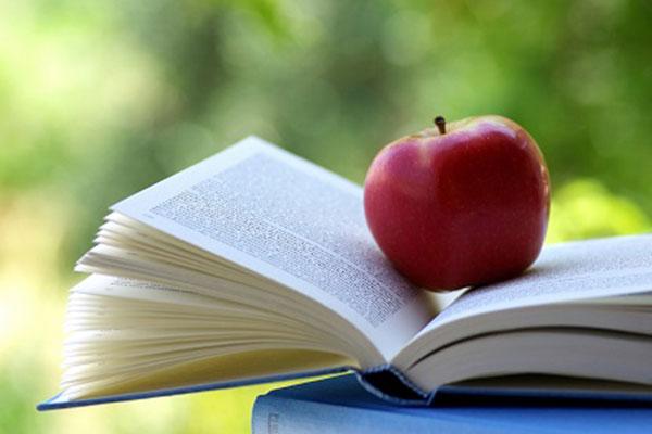 Apfel auf einem aufgeschlagenen Buch